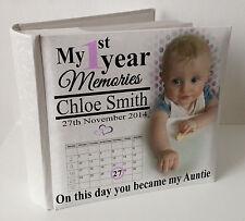 "Personalised white photo album, 100 x 6x4"" photos, baby 1st year memory Auntie."