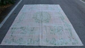 Distressed Bohemian Area Rug Anatolian Handmade Floral Wool Oushak Carpet 7x10ft