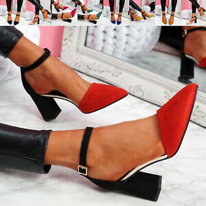 WOMENS LADIES ANKLE STRAP TWO TONE HIGH BLOCK HEELS POINTED TOE WOMEN SHOES