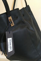 PAUL COSTELLOE Black Leather Bucket Bag Womens Drawstring Shoulder Tote