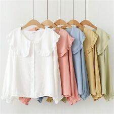 Women Cute Lolita Shirt Blouse Peter Pan Collar Long Sleeve Ruffle Preppy  Tops