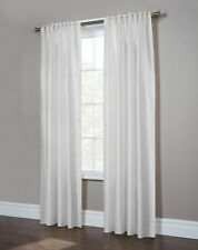"""Antique Satin Lined Back Tab Curtain Pair, 84"""" length, White, by Commonwealth"""