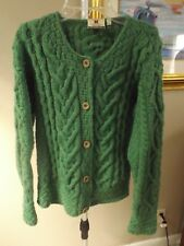 CARRAIG DONN Green Cableknit Button Front Merino Wool Ireland Cardigan Sweater S
