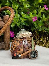 Miniature Dollhouse FAIRY GARDEN Accessories ~ Small Fishing Basket w/ Fish Net