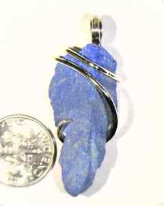 28.74ct Rough Blue Lapis Lazuli in Sterling Silver Wire Wrap Pendant