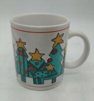 4 MERRY CHRISTMAS Trees 11oz. Coffee Mug Tea Cup Ceramic Holiday Snowflakes EHI