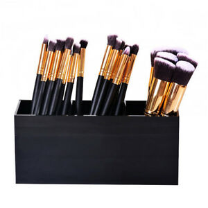 3 Slot Black Acrylic Makeup Brush Holder Organizer BoxCosmetics