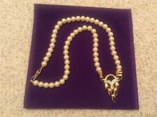 Luxury Simulated  Pearl Necklace with Central Gold plated and Diamante Pendant