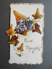ANTIQUE Christmas Card Embossed Diecut Violets Ivy KIND THOUGHTS