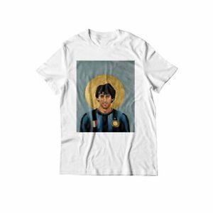 T-Shirt bianca nero idea regalo calcio football tshirt maglietta milito inter