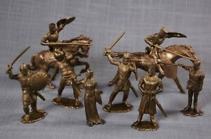 7 Ideal 70mm MEDIEVAL CASTLE KNIGHTS + LADY + 2 HORSE + 2 LANCES, 1950s-60s