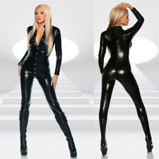 Womens Wet Look Jumpsuit One Piece Faux Leather Catsuit Bodysuit Romper Clubwear