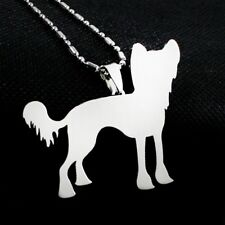 New Stainless Steel Chinese Crested Puff Powderpuff Pet Dog Tag Pendant Necklace