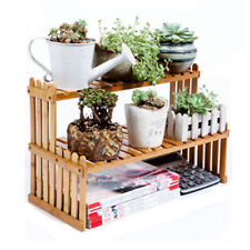 3-Tier Bamboo Tray Stand Holder with 3 Succulent Cactus Plant Flower Pots