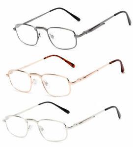 Retro Square Metal Frame Pocket Clip Clear Lens Reading Glasses Spring Hinges