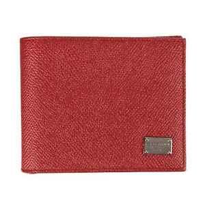 Dolce & Gabbana Unisex Logo Leather Wallet Briefcase Red 07833