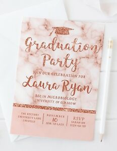 10 ROSE GOLD GRADUATION PARTY INVITATIONS - PERSONALISED