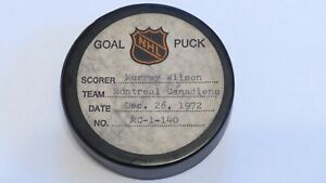 1972-73 Murray Wilson Montreal Canadiens Game Used Goal Scored Puck -Blues Logo