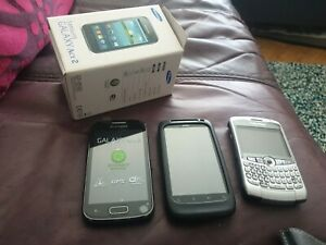 3 x Mobile Phones Samsung Galaxy Ace 2, HTC and Blackberry 8300