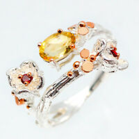 Handmade Fine art Natural Citrine 925 Sterling Silver Flower Ring / RVS104