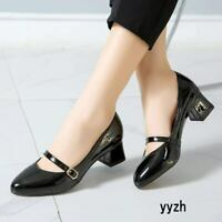 Casual Women's Mary Jane Shoes Buckle Patent Leather Mid Heels Pointed Toe Shoes