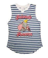 Women's Disney Dumbo Friends Forever Striped Blue/White Tank Top (Juniors) sz S