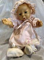 "Vintage Newborn Anatomically Correct Doll Baby Girl Blue Eyes 19"" China"