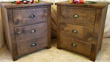 PAIR OF NEW SOLID WOODEN BEDSIDE  CHESTS CABINETS RUSTIC PLANK Indigo Furniture