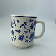 Pier 1 Hand Painted Blue & White Flower Designed  Coffee Mug - Made in Italy
