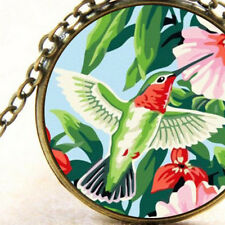 New Hummingbird, Necklace Pendant, Green and Red Bird, Pretty Gift Jewellery