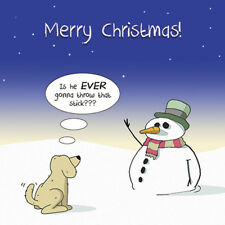 Merry Christmas Card with Dog & Snowman -Funny Christmas Card -Xmas Card -Fool