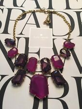 """STUNNING KATE SPADE """"SET IN STONE"""" FACETED AMETHYST PURPLE GEM NECKLACE RARE"""