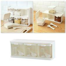 3 Grids Spice Jar Rack Condiment Storage Seasoning Container Boxes Food Y3J0