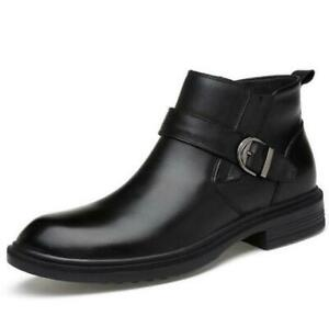 Mens Cow Leather Ankle Chelsea Boots Cuban Heel Warm High Top Shoes Dress Formal