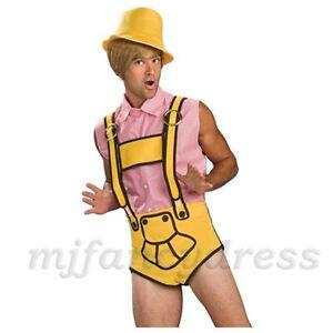 Mens Bruno Lederhosen Deluxe Yellow Fancy Dress Costume Bruno Costume Lederhosen