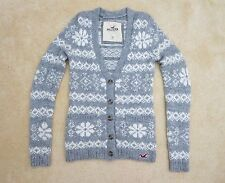 Hollister Womens Knit Wool Cardigan Size XS Sweater Gray & White