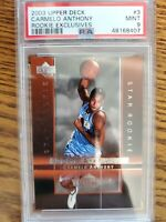 2003-04 Upper Deck Carmelo Anthony #3 Rookie Exclusives PSA 9 Nuggets A78