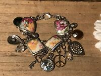 Recycled Broken Porcelain Jewelry, Chunky Charm Bracelet (SIZABLE)