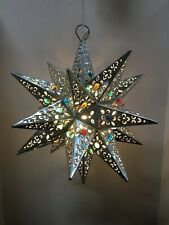 Moravian Star Pierced Metal Glass Pendant Light Lamp Hanging w/marbels 14 inches