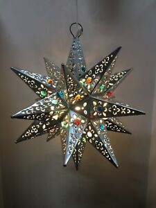Moravian Star Pierced Metal Glass Pendant Light Lamp Hanging w/marbels 18 inches