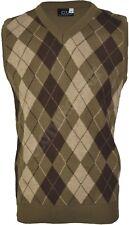 VS1 Mens Argyle V Neck Sleeveless Sweater Jumper Tank Top Jersey Golf Casual
