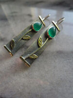 Vintage Women's 925 Silver Emerald Ear Stud Hoop Wedding Party Jewelry Earrings