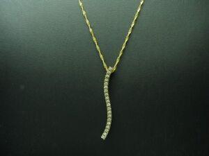 14kt 585 Yellow Gold Chain & Pendant With 0,20ct Brilliant Trim/Diamond/ 45cm