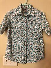 Wrangler Wrancher Women's Snap Up Aqua Blue Floral Short Sleeve Shirt - Small S