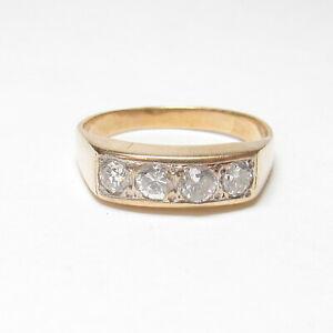 1940s Vintage Mens 14K Yellow Gold 4 Brilliant Cut Diamond Band Ring 0.60 Cts