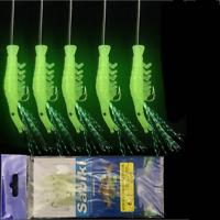 Luminous Sabiki 5 Shrimp Rigs Glow in dark Baits Fishing Lures Catch Hook 1#-6#