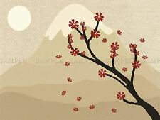 PAINTING LANDSCAPE BLOSSOM TREE SNOW PEAK MOUNTAIN SUN VECTOR POSTER BMP10660