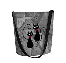 ARSO Filztasche Damentasche Filz Grau Katzenmotiv RV Schultertasche FUNKY Cat`s