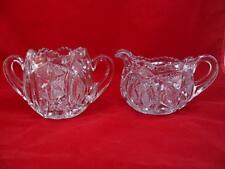 Vtg Crystal Creamer And Sugar Bowl Etched & Cut Glass Opened Top Double Handle