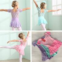 Girls Kid Leotard Ballet Dance Tutu Skirt Ballerina Fairy Dancewear Costume 3-9Y
